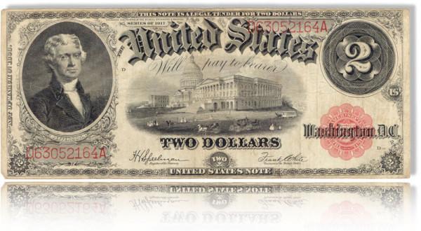 Der letzte Gelsdschein zur Thematik Ahnenforschung und Honorar zeigt eine amerikanische 2-Dollar-Note. Links ist das Brustbild eines amerikanischen Präsidentetn zu sehen, in der Mitte das Capitol.