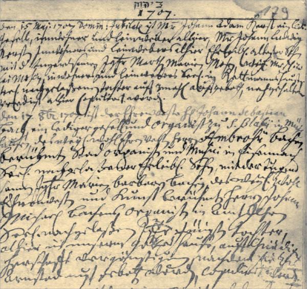 Die Herausforderung für jeden Ahnenforscher beziehungsweise Familienforscher: es ist eine historische Seite aus einem Kirchenbuch in sehr schwierig lesbarer altdeutscher Schrift.