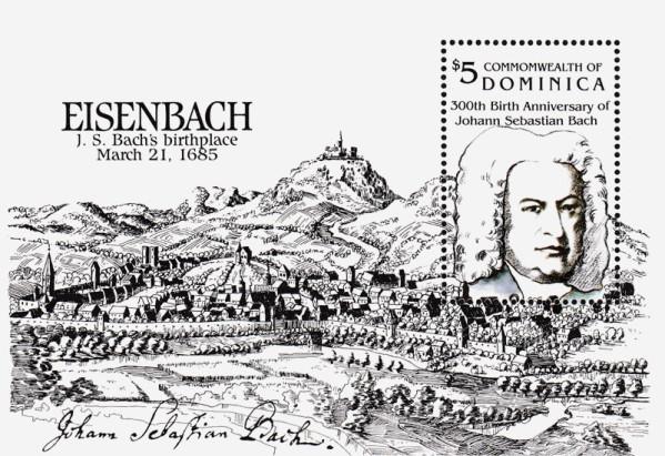 Besonders für die Bach-Ahnenforschung für jeden Ahnenforscher spannend: Der Block mit einer perforierten Marke zeigt Eisenach als Merianstich. Oben links der Schrifzug heißt Eisenbach. Rechts ist JSB.