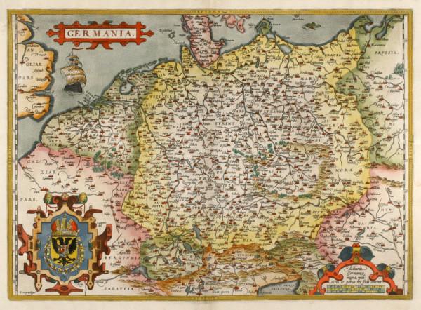 Zum Bild zum Thema Ahnenforshcung ist eine mindestens 150 Jahre alte Karte von Deutschland abgebildet. Man sieht oben links noch Großbritannien und unten rechts Östereich.