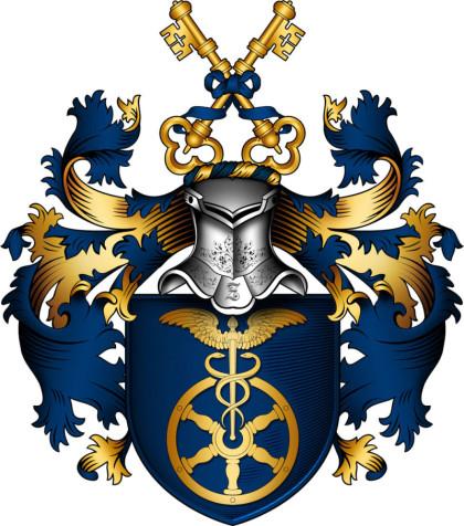 Passend zum Thema Ahnenforschung ist ein blau-goldenes Wappen auf weißem Grund abgebildet. Oben ist ein Helm, unten ein Rad, Als Krone dienen zwei goldene Schlüssel. Das Wappen unterliegt Copyright.