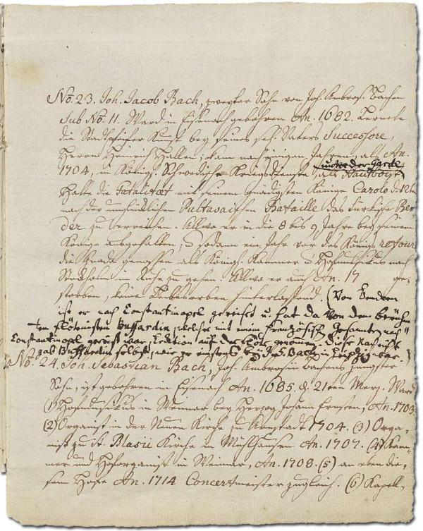 Man sieht eine komplette Seite des Ursprung von 1735 in der Handschrit der Enkelin Bachs. Eine zweite Handschrift füllt einen Zwischenraum mehrzeilig aus. Das Papier ist historisch.